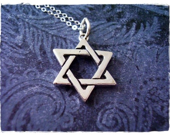 Large Silver Star of David Necklace - Sterling Silver Star of David Charm on a Delicate Sterling Silver Cable Chain or Charm Only