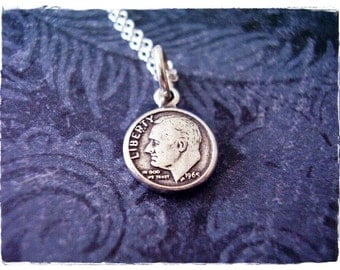 Tiny Silver Roosevelt Dime Necklace - Sterling Silver Roosevelt Dime Charm on a Delicate Sterling Silver Cable Chain or Charm Only