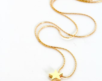 Gold Star Charm Necklace, Star Necklace, Gold Necklace, Charm Necklace, Star Jewelry, flower girl gift