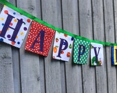 Fabric Birthday Banner Party Decoration Very Hungry Caterpillar Happy Birthday Flags Kids First Birthday Sign