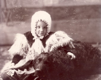 Little Girl Dressed in Warm WOOLY Coat with Arm Around Beautiful Black FAMILY DOG Cabinet Card Photo New Hampton Iowa Circa 1890s