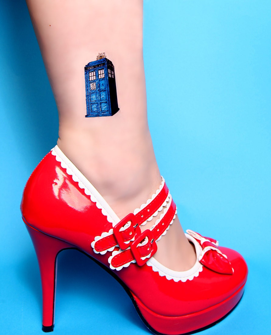 Small Doctor Who Tattoo: 2 Doctor Who Temporary Tattoo Tardis Splat Large Temp Tattoo
