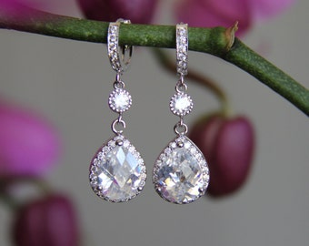 Sparkle filled cz earrings, cubic zirconia earrings, wedding jewelry, bridal jewelry, wedding earrings, bridal earrings, bridesmaid earrings