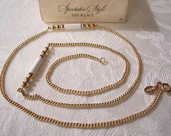 White Tube Round Spacers Necklace Choker Gold Tone Vintage Avon Spectator Style Curb Wave Link Chain Hangtag Spring Clasp