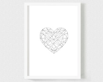 SET of 3 Geometric Diamonds Hearts Posters: A4 size , Whimsy Black and White Modern Prints for Your Home