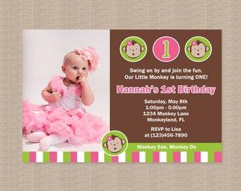 Mod Monkey Birthday Party Invitation, Pink Green White, Mod Monkey Birthday Invitation, Mod Monkey Birthday Party, Printable Invitation