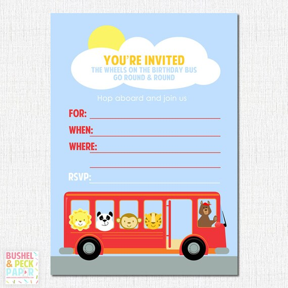 Printable wheels on the bus party invites diy digital file il570xn stopboris Image collections