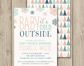 WINTER BABY SHOWER Invitation - Baby It's Cold Outside - Tribal Christmas - Printable Baby Shower