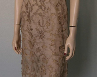 1960s Betty Higgins - Royal Hawaiian -  Embroidered and Appliqued Silk Organza Sheath Dress - Metallic Bronze - Artistic Evening Attire