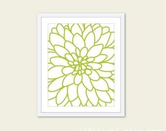 Dahlia Flower No.2 - Art Print  Modern Flower Wall Art - Original - Fresh Green Spring Summer Decor  - Under 20