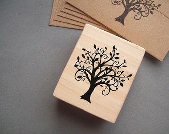 Tree Stamp - Swirly Woodland Family Tree Rubber Stamp