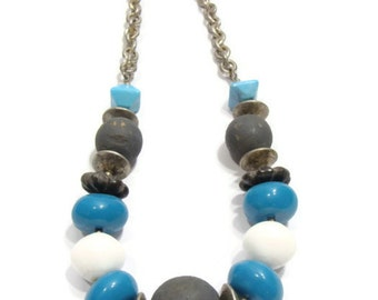Vintage Teal,Gray and white Chunky Bead Necklace
