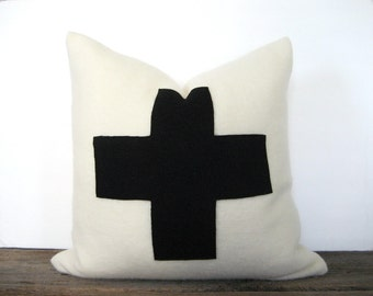Wool Blanket Pillow Cover Black Swiss Cross