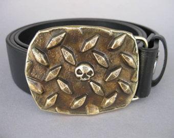 Diamond Plate Skull Forged Belt Buckle