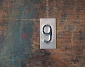 vintage industrial number 9 / metal letters / letter art