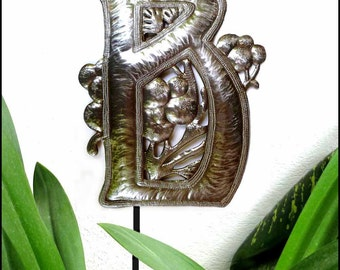 "Garden Decor Metal Art, Metal Letter, Initial - Monogram Garden Plant Stake, Haitian Recycled Steel Drum, Choose your letter - 15"" - PS-1500"