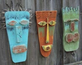 Tiki Man, Tiki Mask, Primitive Wall Hanging, Rustic Beach House, Wood Sculpture