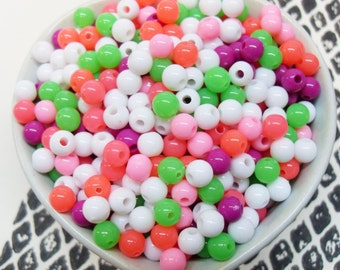 300x 6mm Tiny Spring Blossom Pink and Green Coloured Resin Multi color Globe beads