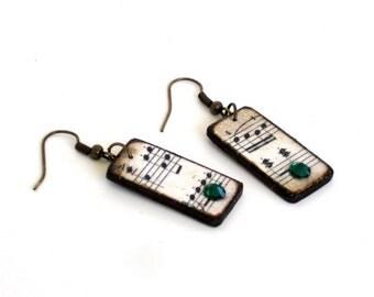 Sheet Music Dangle Earrings Decoupaged Crystal Bohemian Fashion Boho Jewelry Emerald Green Crystal Drop Earrings