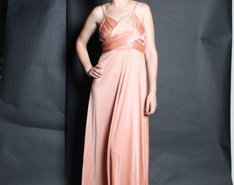 Dress  Maxi Gown 1970s Vintage 70s Peach Nude Shiny Draped Dress and Jacket S Small