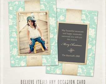 Believe Christmas Card Template (Teal)- Millers Lab 5x7