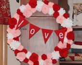 Valentines Day Wreath Valentines Day Decoration Valentines Day Decor Pink Red White Wreath Felt Flower Wreath Custom Color Wreath