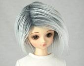 "7/8 Gray & White 3"" Faux (Fake) Fur Wig for MSD, Mini Super Dollfie, Size 7-8 Wig"