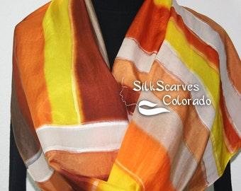 Silk Scarf Handpainted. Brown, Orange, Yellow Hand Painted Shawl. Handmade Silk Wrap AUTUMN FOREST. Large 14x72. Anniversary, Mother Gift.