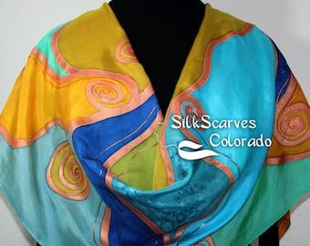 Hand Painted Silk Shawl. Antique Gold, Green, Blue Handmade Silk Wrap, SPRING CHIC. Extra-Large 22x72. Silk Scarves Colorado. 100% silk.