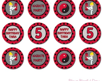 PRINTABLE Personalized Girl Karate Party Circles (Character of your choice) #543