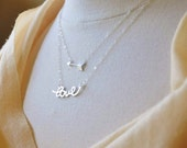 Sterling Silver Tiny Cupid Arrow Necklace- Simple Minimalist, Everyday Necklace, Great Layering piece, Small Charm, Love Symbol