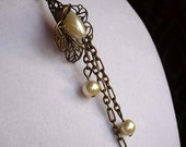 Brass Filigree Flower Bead Cap with Pearls Necklace