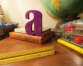 Vintage Purple Marquee Sign Letter Lowercase 'A': Small Industrial Wall Hanging Initial -- Salvage Advertising