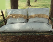 Burlap Ruffles Ticking Seat Slipcover - 2 Big Fluffy Pillow Covers Patio - SunRoon ,Porch Swing ,Glider