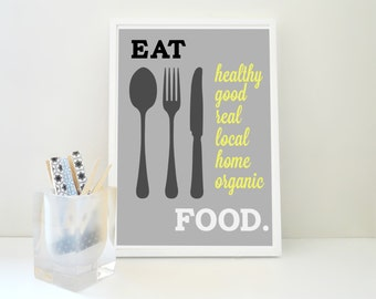 Eat Good Organic Healthy Food Kitchen Art Print Local Home