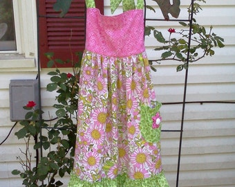 Ready to Ship Girly Girl Pink and Lime Green Floral Full Apron Adjustable Boutique Style