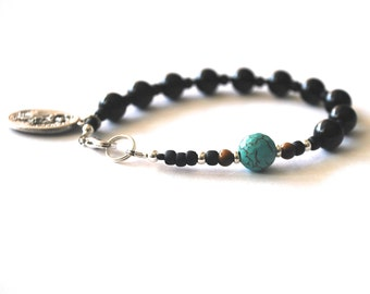 Saint Michael, Archangel Michael Mens Rosary Bracelet, Black Onyx Tigers Eye Turquoise Saint Bracelet Male confirmation Gift Catholic