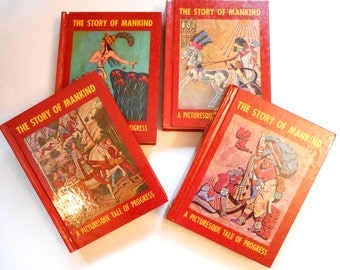 The Story of Mankind, Four Volume set of Vintage Children's Books, Olive Beaupre Miller