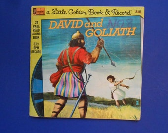 David and Goliath, a Vintage Little Golden Book and Record, 1974