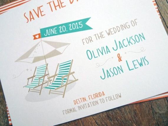 Destination Beach Wedding Save the Dates Whimsical Beach – Save the Date Cards Beach Wedding