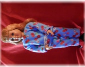 """American Girl 18"""" doll Fleece pajamas set blue red cherries floral print w rose ponytail bow and red socks"""