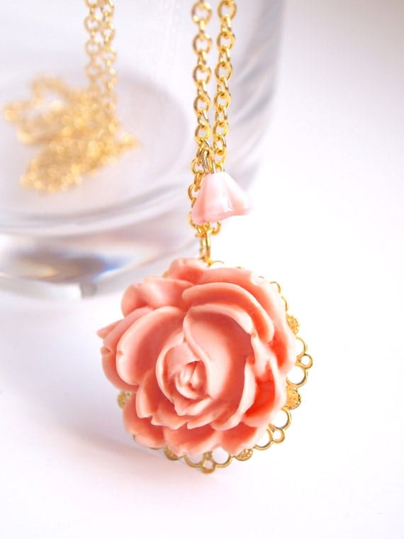 Peach Flower Necklace. Long Gold Plated Chain. Long Necklace.