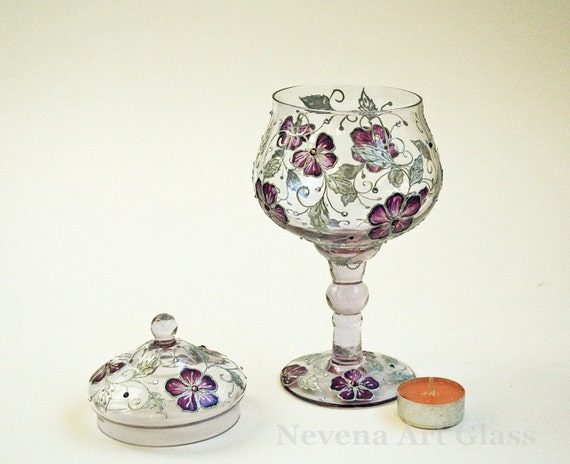 Items similar to hand painted centerpiece glass candy