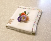 VINTAGE HAND EMBROIDERED Tablecloth, Cross Stitch, Cotton, Linen