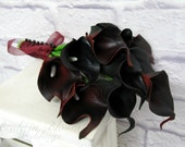 Calla lily Wedding bouquet dark red black real touch Bridesmaid bouquet