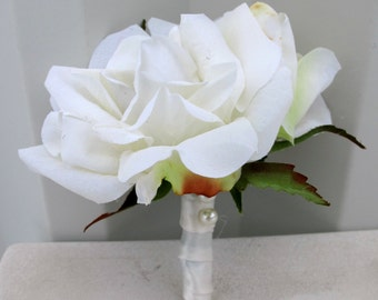White rose Boutonniere - Mens silk wedding boutonnieres