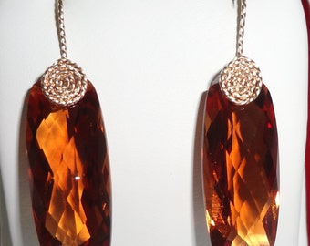 Natural 38cts Madeira Citrine gemstones, 14kt yellow gold Pierced Earrings