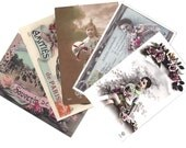 6 x PARIS Vintage postcard set - Hand written post cards from Paris, France - From early 1900s