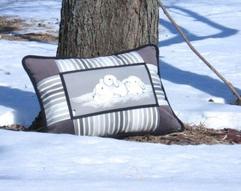 "Boudoir Pillow Between Us Rectangular 20"" x 14"" Textile design chic home decor accent Unique Black Gray White Rabbit Bunnies Animal Nature"