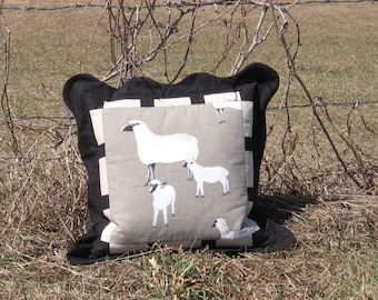 "Pillow Family Portrait Square scalloped 20"" x 20"" Nature inspired Decorative accent  Ewe Lamb Black Gray White Farm Animal Eclectic"